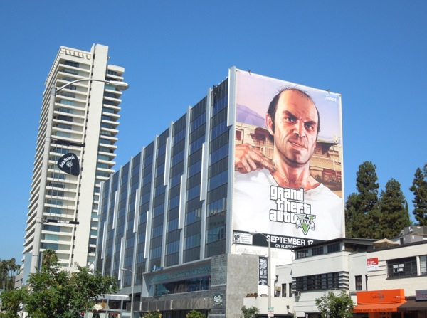 Giant Grand Theft Auto 5 video game billboard