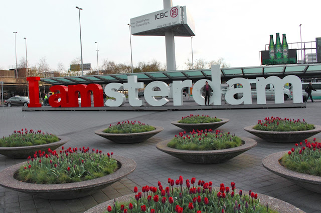 The Butterfly Balcony - Wendy's Week Liverpool to Amsterdam - Me and the 'I amsterdam' sign outside Schiphol Airport/Rail Station
