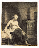 Half-Naked Woman by a Stove by Rembrandt Harmenszoon van Rijn - Nude Paintings from Hermitage Museum