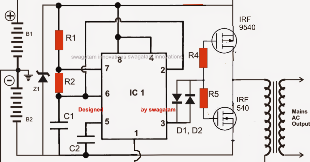 Simplest Power Inverter Circuit Using a Single 555 IC