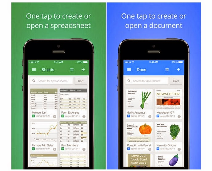 Google apps Documents and Spreadsheets for iOS and Android, Google apps, Documents and Spreadsheets, Documents and Spreadsheets for iOS and Android, free apps, Google Drive apps,
