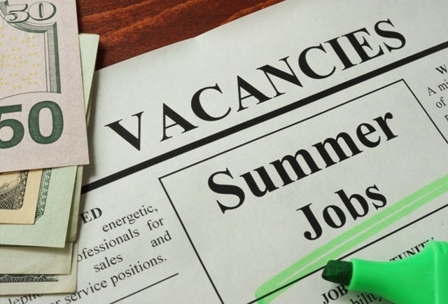 highest paying summer jobs teen part-time work student working