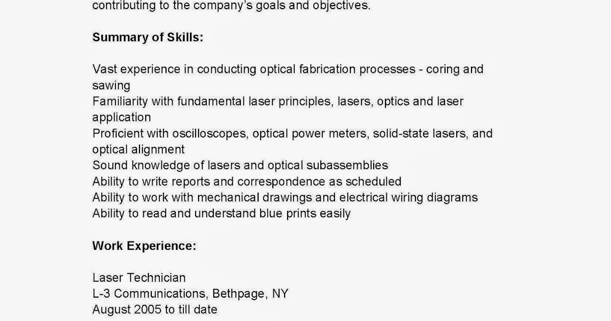 Laser Technician Resume - Talktomartyb - certified laser technician resume