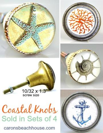 Coastal Glass Knobs with Artwork Inlay