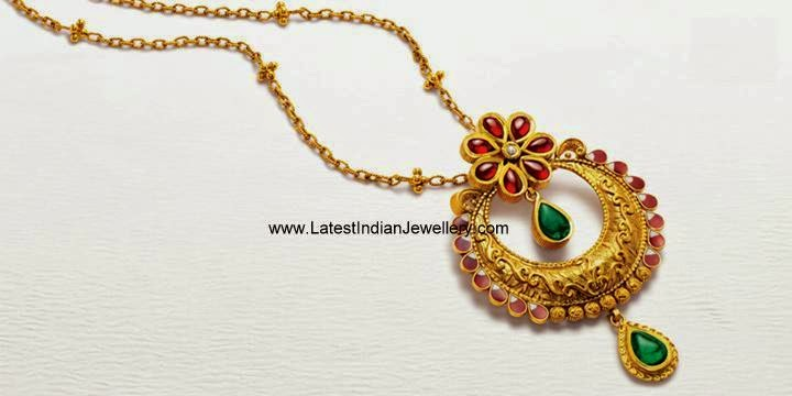 Azva antique gold floral pendant