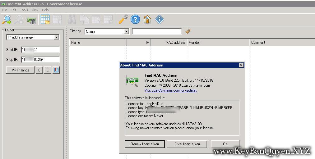 LizardSystems Find MAC Address 6.5.0 Build 225 Full Key,Công cụ tìm địa chỉ MAC của máy tính trên mạng