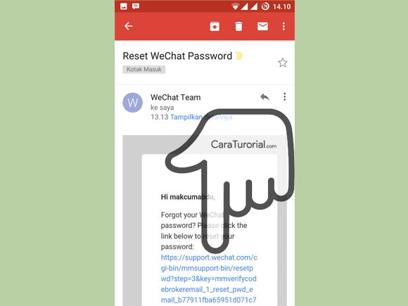 link reset password di dalam pesan email wechat team