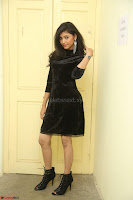 Mounika in a velvet short black dress for Tick Tack Movie Press Meet March 2017 108.JPG