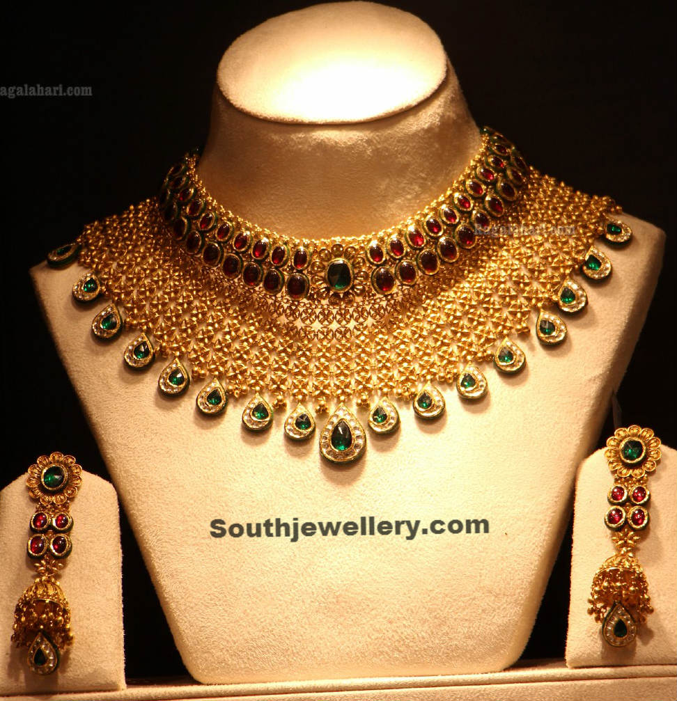 earring designer set gold necklace heavy bridal exclusive beautiful sets