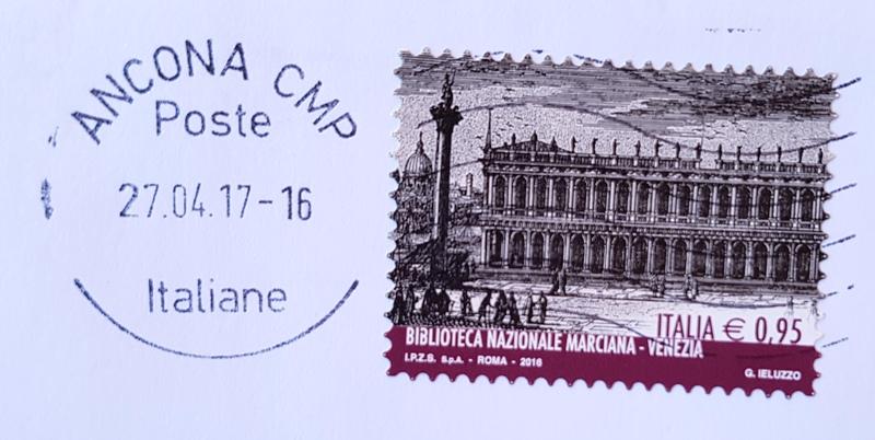 francobollo Biblioteca Nazionale Marciana Venezia 2016