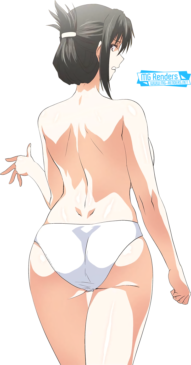Tags: Anime, Render,  Bare shoulders,  From behind,  Hair bun,  Hyun Kyung,  Looking back,  No bra,  Pantsu,  SStudy,  PNG, Image, Picture