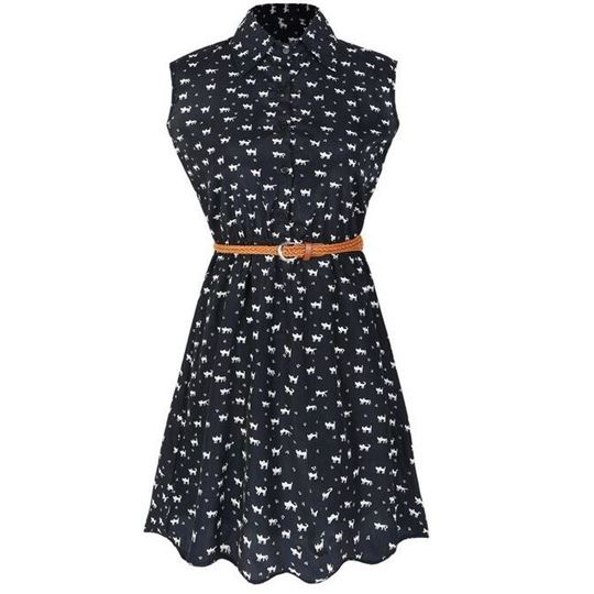 Cat footprints pattern Shirt dress casual dresses with Belt