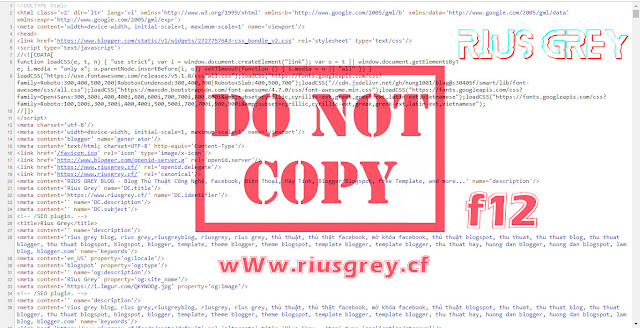 Code Chống Copy, ViewSource, F12,Chuột phải... Cho Blogspot/Blogger | RIUSGREY