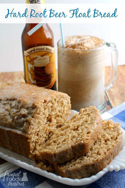 This Hard Root Beer Float Bread is dense and moist with the tasty flavor of root beer that is complemented perfectly with the vanilla glaze.