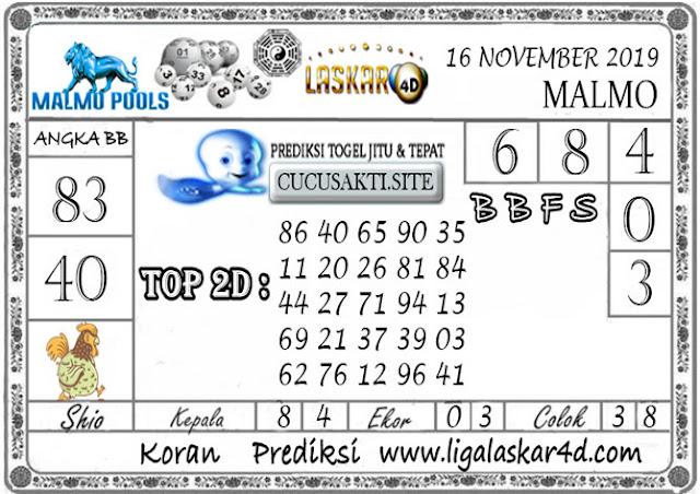 Prediksi Togel Jitu MALMO LASKAR4D 16  NOVEMBER 2019