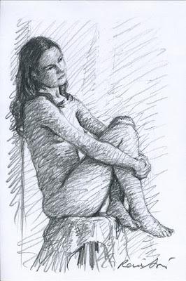 Croquis de nu au crayon mine de plomb - René Bui
