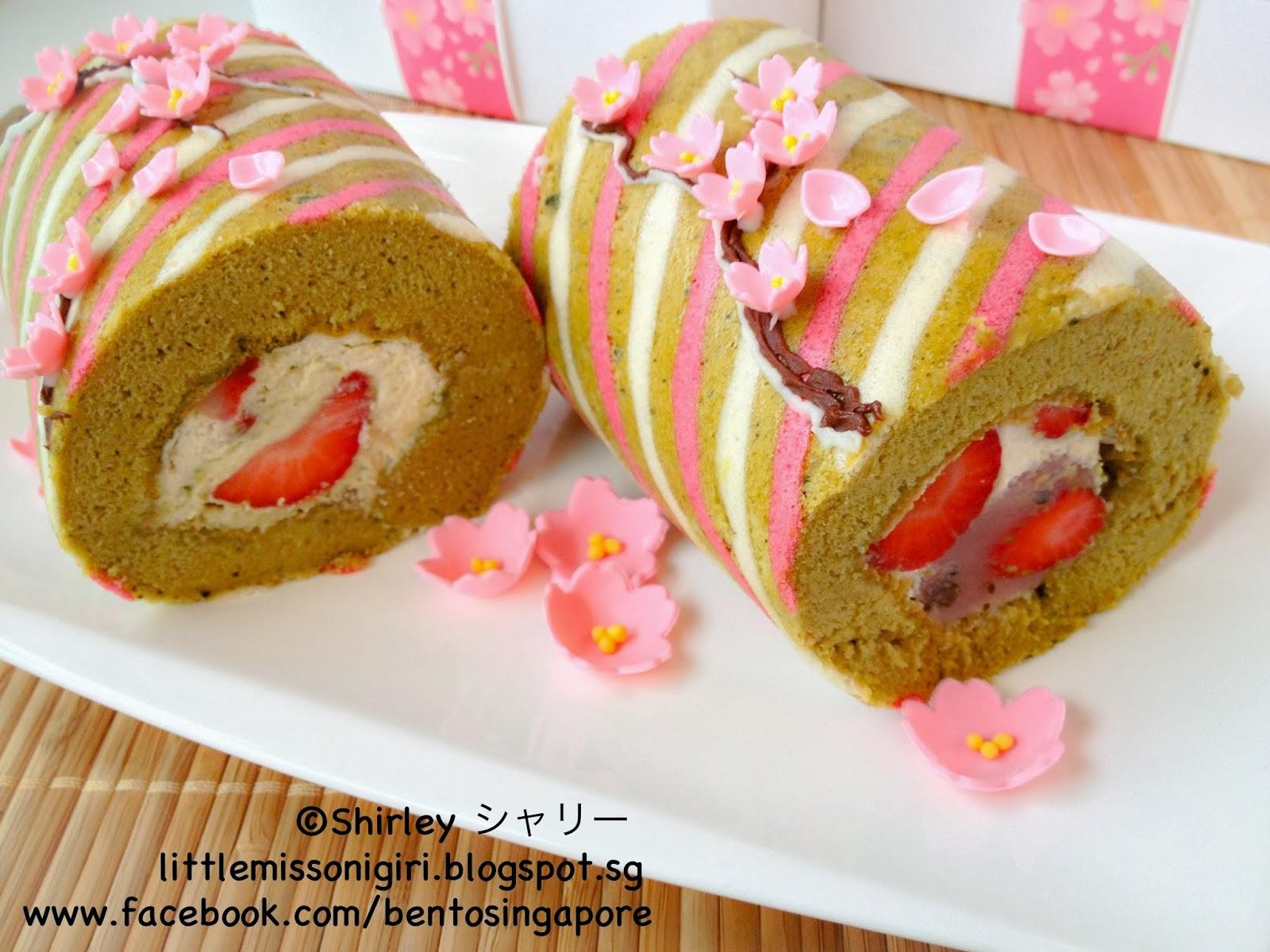 Strawberry Roll Cake Japanese Recipe: Sakura Matcha Deco Roll Cake 桜の抹茶デコロールケーキ
