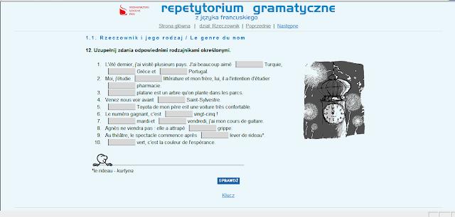 """Recenzje #2 - """"Repetytorium gramatyczne z języka francuskiego"""" - przykładowy ekran ćwiczeń 1 - Francuski przy kawie"""