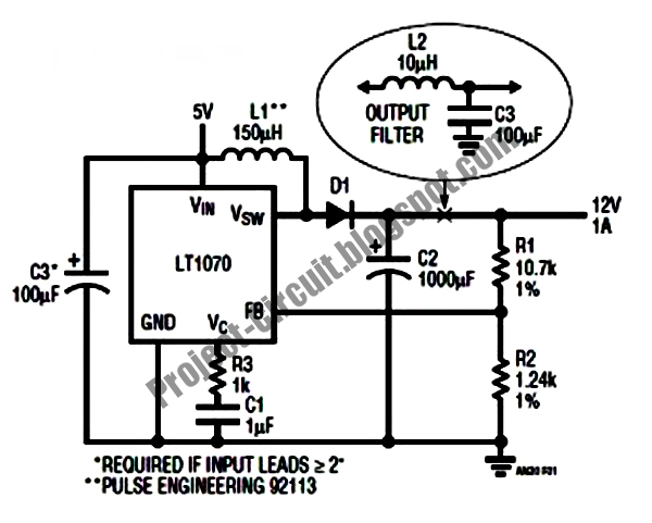 Electronics Technology: 5VDC to 12VDC LT1070 Boost