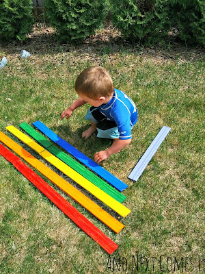 Giant Homemade Rainbow Xylophone from And Next Comes L