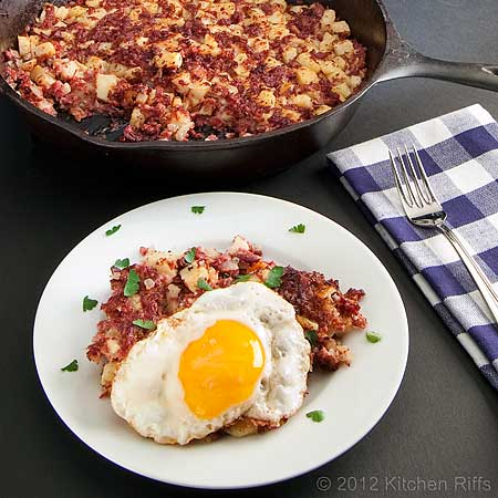 Corned Beef Hash topped with fried egg