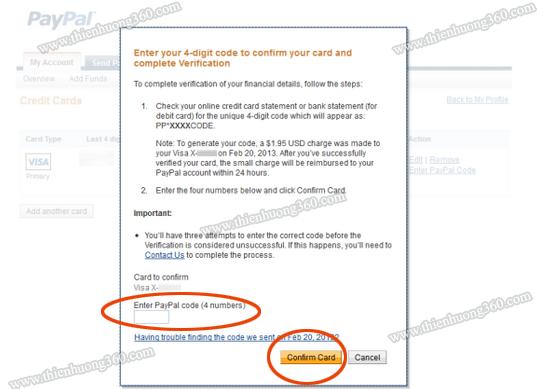 Nhập 4 con số bí mật PayPal đã gửi về thẻ Visa Prepaid
