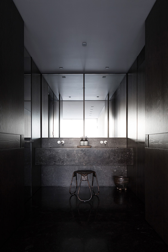 All black bathroom | Potts Point Apartment II by Tom Ferguson. Designer: George Livissianis