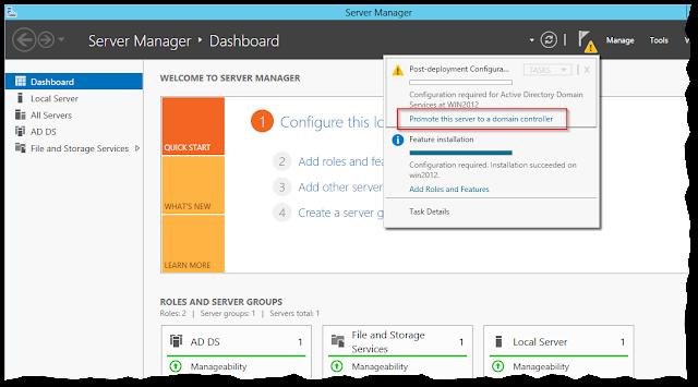 Informacja o konieczności wypromowania serwera do roli kontrolera domeny