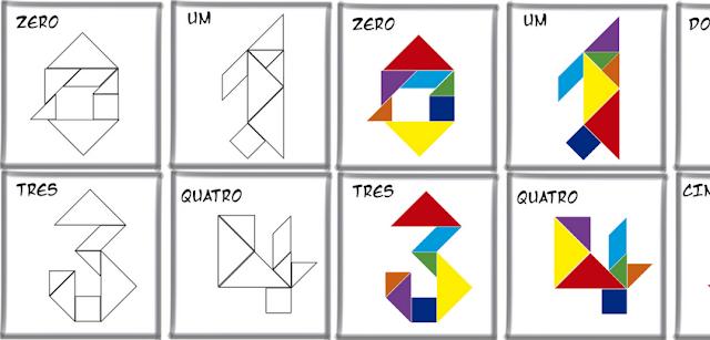 Cards de números com TANGRAM