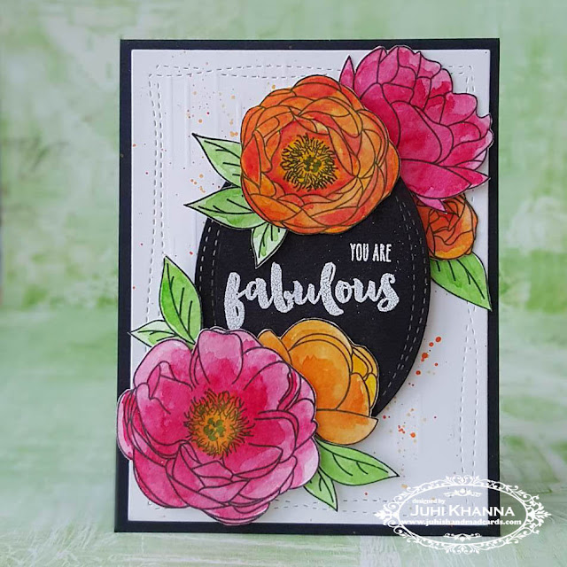 Watercolor floral card. Peonies from the Peonies on Parade set by PTI and sentiment by Honeybee Stamps