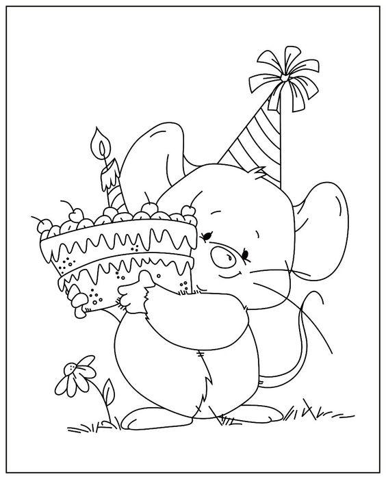 Tranh tô màu con chuột và chiếc bánh sinh nhật