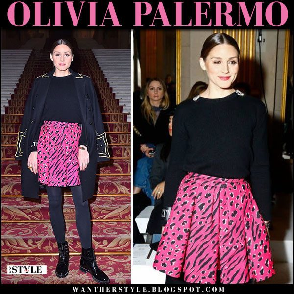 Olivia Palermo in black coat and bright pink mini skirt balmain fashion week outfits march 2
