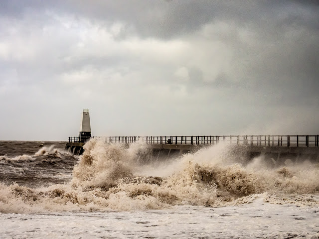 Photo of waves whipped up by high winds on  Maryport shore at high tide today (Friday)