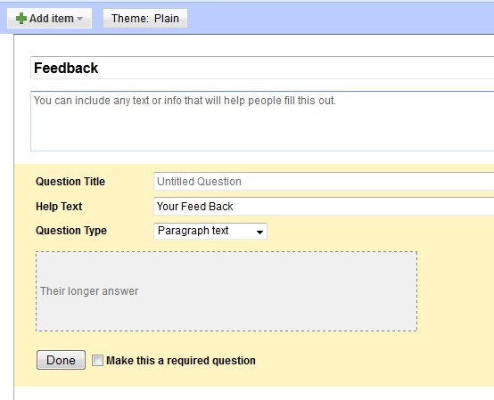 how to create a feedback form in google docs