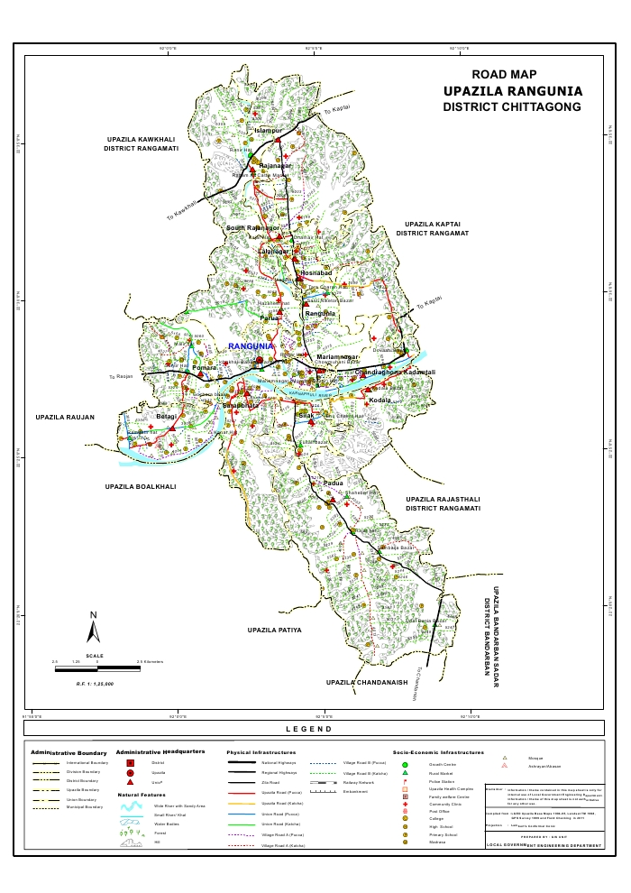 Rangunia Upazila Road Map Chittagong District Bangladesh