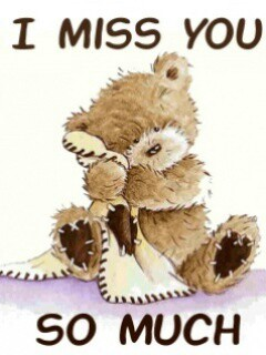 I miss you cartoon teddy bear picture