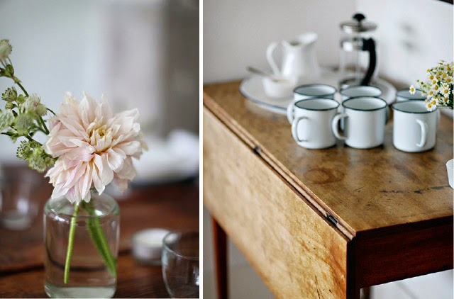 Flowers in jars and enamelware cups for a casual afternoon tea
