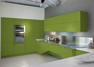 Cocina decorada con verde