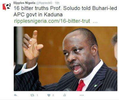 , Shocking! 16 Bitter Truths Prof. Soludo told APC Government in Kaduna, Latest Nigeria News, Daily Devotionals & Celebrity Gossips - Chidispalace