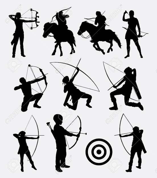Archery Archery Dart People Male And Female Silhouette Good Use For  Symbol Web