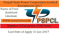 Punjab State Power Corporation Limited Recruitment 2017 for Assistant Lineman Post