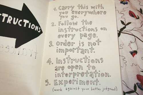 the instructions from the 'wreck this journal' by keri smith