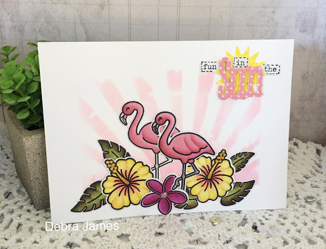 Sunny Studio Stamps: Tropical Paradise Flamingo card by Debra James