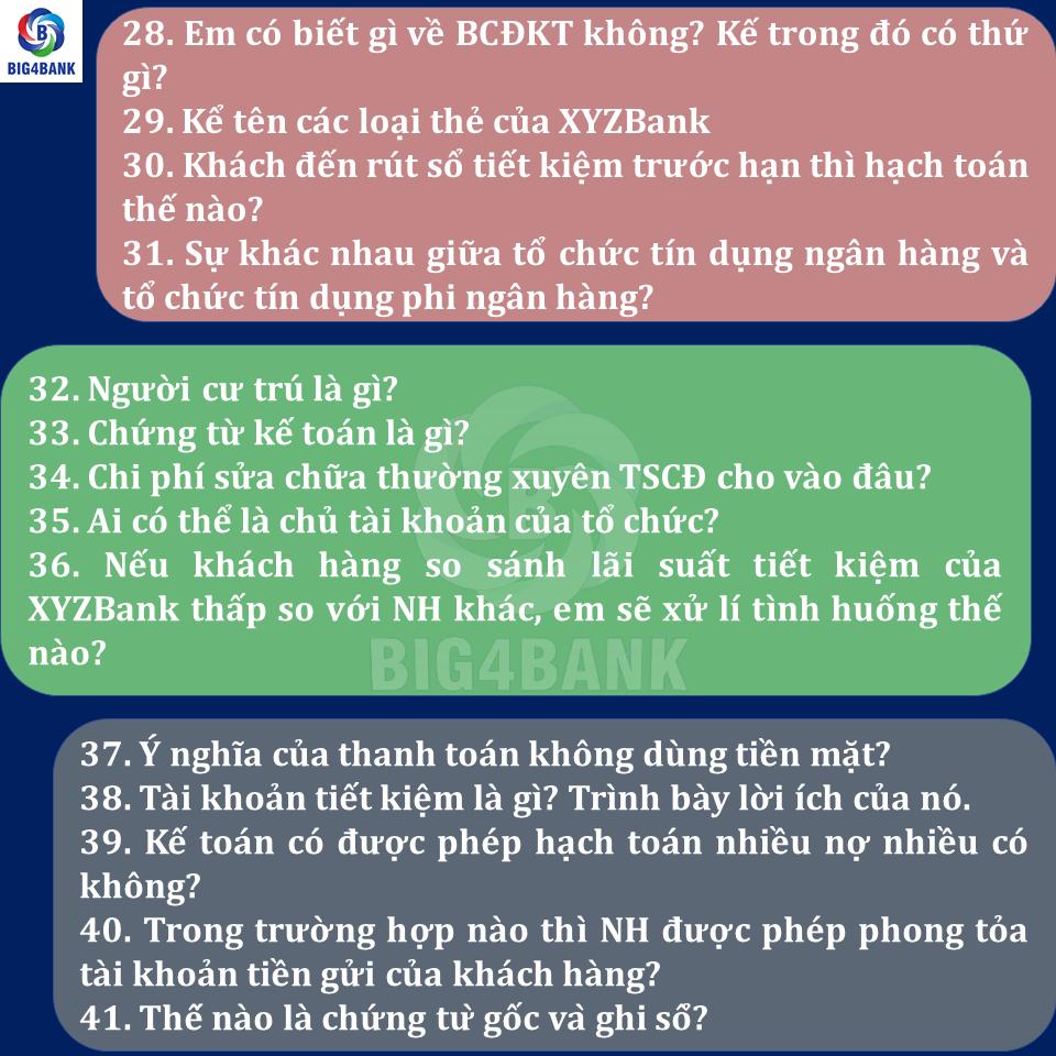 Bộ Câu Hỏi Full Cho Vị Trí Giao Dịch Viên Ngân Hàng