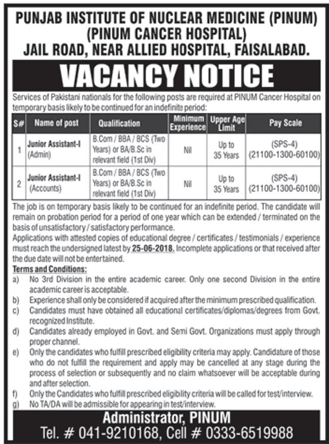 Fresh Junior Assistant Jobs in Punjab Institute of Nuclear Medicine Faisalabad PINUM 2018