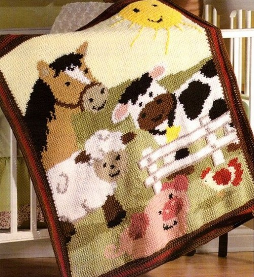 Adorable Farm Animals afghan - Graph-ghan Pattern