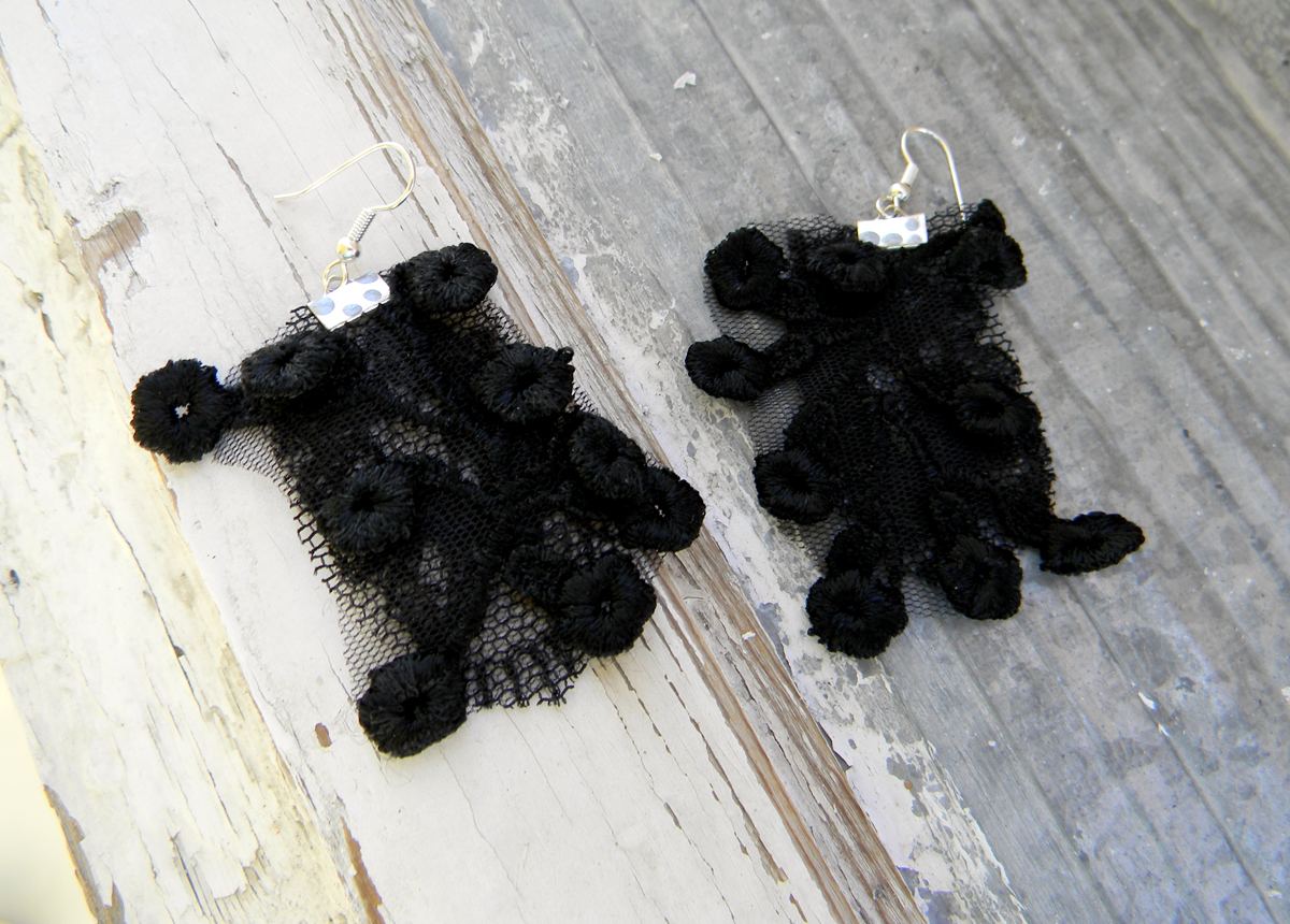Handmade Earrings Gothic French Chic Noir