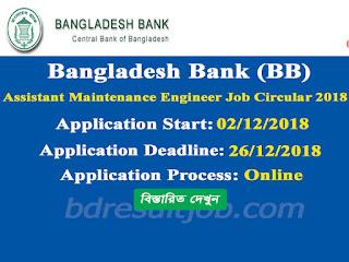 Bangladesh Bank (BB) Assistant Maintenance Engineer Job Circular 2018