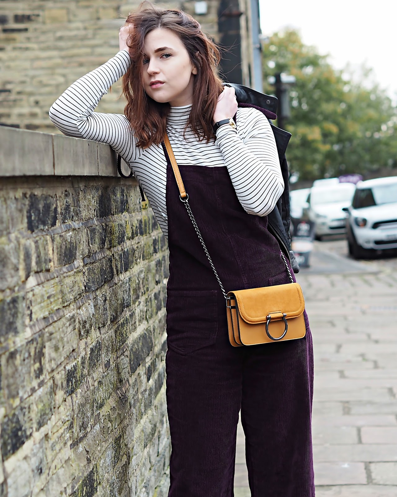 stripe top & mustard bag
