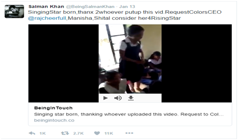 Actor Salman Khan Supports Wonderchef girl TumpaKumari